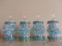 12 Blue Fillable Bottles for Baby Shower Favors Prizes or Ga