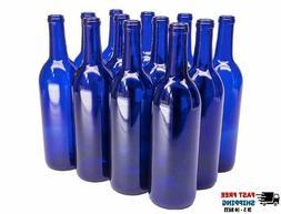 12 Empty Wine bottles 750ml Bordeaux Cobalt Blue Home Wine M