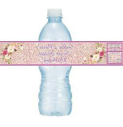 12 Floral Flowers Birthday Party Baby Shower Water Bottle La