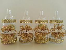 12 Gold Fillable Bottles for Baby Shower Favors Prizes or Ga