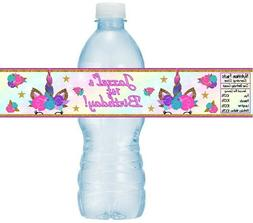 12 Unicorn Birthday Party Water Bottle Stickers Labels Baby