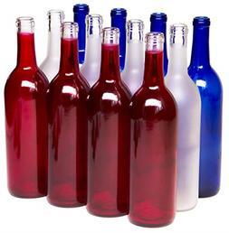 12Case Assortment Glass Bordeaux Wine Bottle Flat-Bottomed C