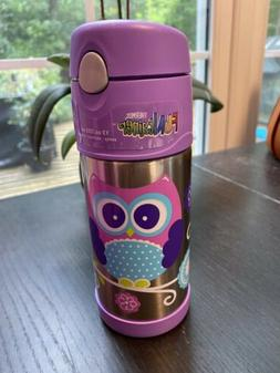 Thermos 12oz Kids Funtainer Water Bottle Purple Owl NEW
