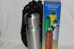 16 oz. Aluminum Silver  Water Bottle w/ Black Nylon Bag Bran