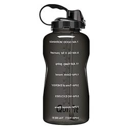 1x Gallon Sport Water Bottle 128 Ounce Black with Drinking S