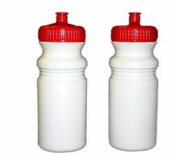 2--20 oz.Biker Sports Water Bottles Red Caps Made in.USA Lea