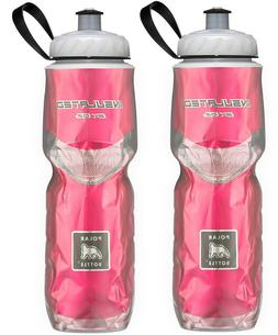 2 Pack Polar Insulated Water Bottle Bike 24oz Red Pair BPA-F