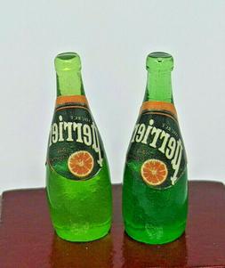 2 X Dollhouse Miniature Perrier Mineral Water Bottle Bar Dri