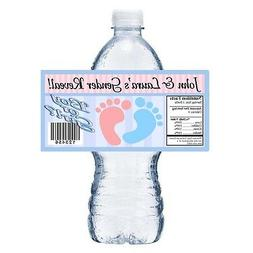 20 BABY GENDER REVEAL FOOTPRINTS PARTY FAVORS WATER BOTTLE L