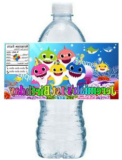 20 BABY SHARK BIRTHDAY PARTY FAVORS WATER BOTTLE LABELS ~ wa