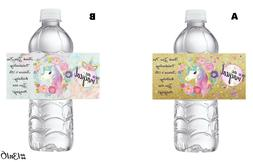 20 CHIC UNICORN BIRTHDAY PARTY FAVORS WATER BOTTLE LABELS WR