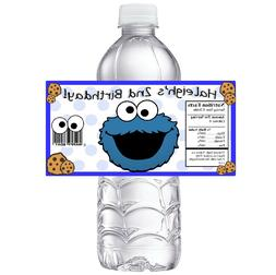 20 COOKIE MONSTER PERSONALIZED BIRTHDAY PARTY FAVORS WATER B