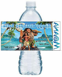 20 DISNEY MOANA BIRTHDAY PARTY FAVORS WATER BOTTLE LABELS ~