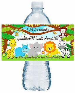 20 JUNGLE SAFARI ZOO BIRTHDAY WATER BOTTLE LABELS ~ Glossy ~