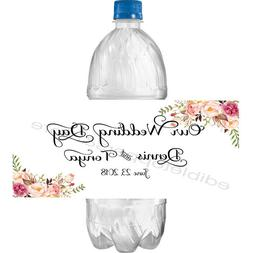 Personalized WEDDING 2 x 4 Glossy Water Bottle Labels ~ Wat