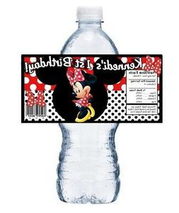 20 RED MINNIE MOUSE PERSONALIZED BIRTHDAY PARTY FAVORS WATER