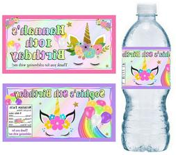 20 UNICORN BIRTHDAY PARTY FAVORS WATER BOTTLE LABELS ~ PERSO