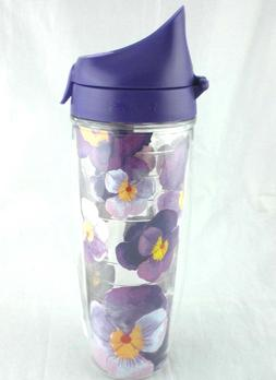 Tervis 24Oz Floral PANSY Watercolor Dazzling PANSIES Water B