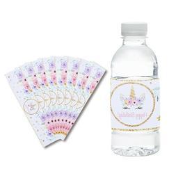 24pcs Water Bottle Labels Stickers Unicorn Baby Shower Festi