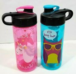 2pcs Cool Gear Water Bottle BPA Free Plastic Owl Unicorn Pin
