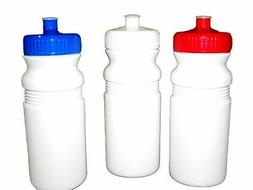 3 - 20 oz.Sports Water Bottles Red Blue White Caps Made in A