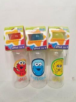 3 Sesame Street 9 oz Baby Bottles Medium Flow Silicone Nippl
