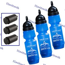 3 New Sport Berkey Water Bottles Purifier & 3 Replacement El