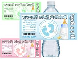 30 BABY SHOWER FAVORS WATER BOTTLE LABELS BABY FEET GLOSSY P