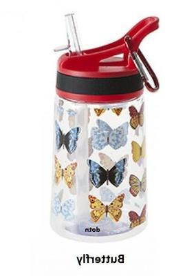 350ml Kids BPA Free Flip Top Straw Water Bottle Childrens Dr