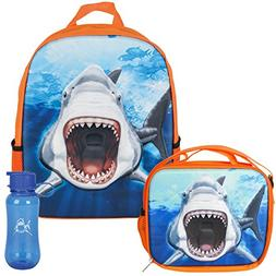 3D Great White Shark Backpack, Lunchbox, & Water Bottle Back