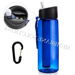 4-Stage Filtered Water Bottle for Camping, Hiking, Backpacki