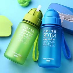 400ML Baby Water Bottle Plastic Sports for Kid with Straw Le