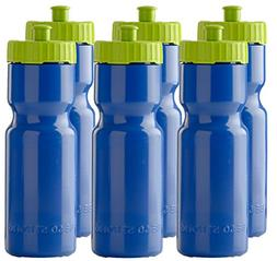 6 Set Sports Squeeze Water Bottles Team 22 oz. BPA Free Easy