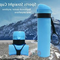 650ML Food Grade Silicone Collapsible Water Bottles Travel F