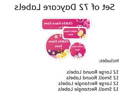 72 Daycare Labels - School Stickers - Bottle Labels - Dishwa