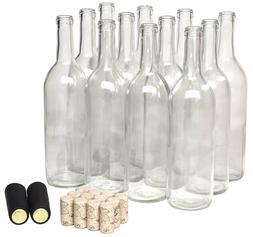 North Mountain Supply 750ml Clear Glass Bordeaux Wine Bottle
