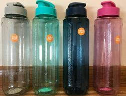 Assorted Colorful Plastic Water Bottles with Flip-Top Lids,
