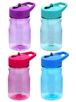 Assorted Kids Plastic Water Bottles with Flip-Up Straws, 13