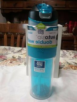 Cool Gear Auto Sip Double Wall-19.5 Oz Bottle-Clear/Blue/Bla