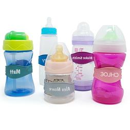 Baby Bottle Bands - 3 Personalized Bottle Labels - Sippy Cup