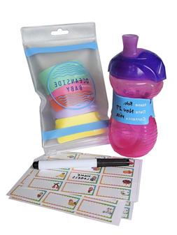 Baby Bottle Labels for Daycare, 6 Reusable Silicone Labels,
