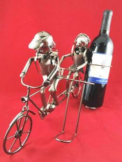 Backpacking Children On Tandem Bicycle Hand Made Metal Wine