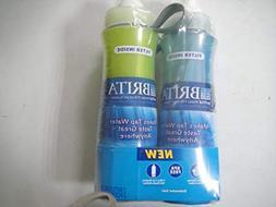 Brita Sport Water Filter Bottle, Twin Pack, Blue and Orange,