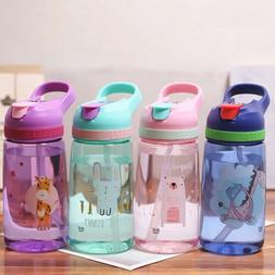 Cartoon Baby Children School Drinking Water Straw Bottle Sip