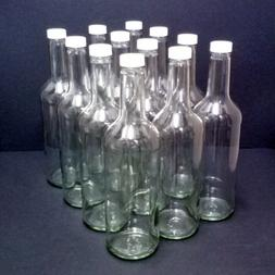 Clear Glass Wine Bottles 750ml with white screw caps, 12/pac