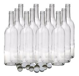 750 ml Clear Screw Cap Wine Bottles With 28 mm Metal Screw C