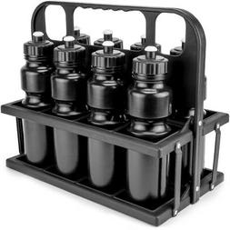 Collapsible Sports Drink Carrier with 8 Plastic 36 OZ Screw-