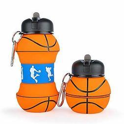 Vikka Sport Collapsible Kids Water Bottle, Basketball Gifts