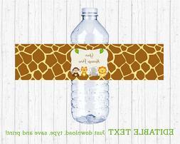 Cute Jungle Safari Animals Water Bottle Labels Printable Edi