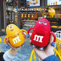 Cute M&M's Glass Water Bottle With food Silicone Straw For C